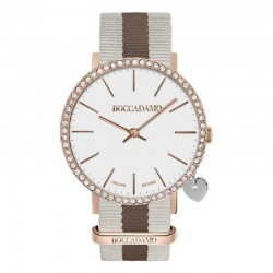 MYA TIME -Orologio donna con quadrante bianco, cassa rosata in Swarovski, charm laterale e cinturino in nylon
