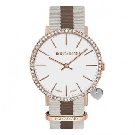 MYA TIME - Orologio donna con quadrante bianco, cassa rosata in Swarovski, charm laterale e cinturino in nylon