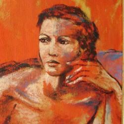 Donna con fondo arancio e blu