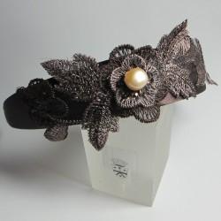 Cerchietto per capelli con merletto marrone e perla