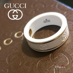 GUCCI ring Icon 4MM in 18Kt gold and white enamel YBC43454100100