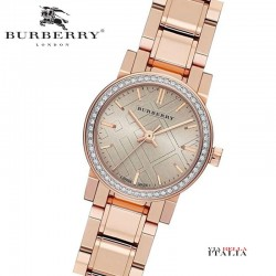 Burberry Rose Dial Diamond-set Bezel Rose Gold-tone Ladies Watch