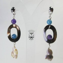 Silver earrings with pearls, mother of pearl, angelite and amethyst