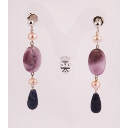 Silver earrings with pearls, amethyst and lapis lazuli