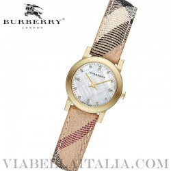 【BURBERRY】Diamond Accent MOP Dial Gold Ion Plated Ladies Watch BU9226 26mm