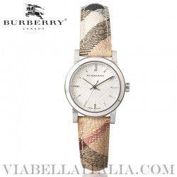 【BURBERRY】BU9222 The City Silver Dial Check Fabric Strap Ladies Watch 26mm