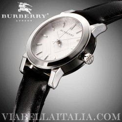 【BURBERRY】BU9206 Silver Dial Black Leather Strap Ladies Watch 26mm