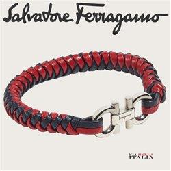 Salvatore Ferragamo - LEATHER AND BRASS BRACELET - SIZE L