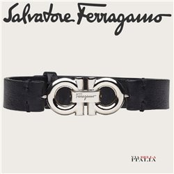 Salvatore Ferragamo - LEATHER BRACELET WITH DOUBLE SIDED GANCINI