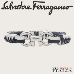 Salvatore Ferragamo - BRACCIALE IN PELLE E OTTONE (L)