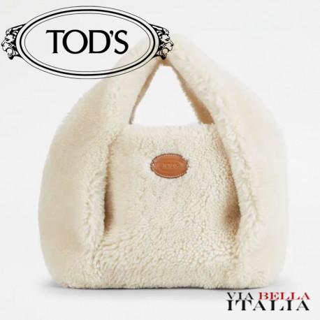 【TOD'S】TOD'S SHIRT SHOPPING BAG IN MONTONE MINI - PANNA
