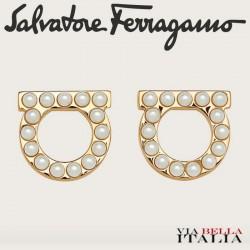 SALVATORE FERRAGAMO -GANCINI CRYSTALS AND PEARLS EARRINGS