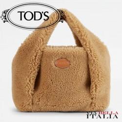 【TOD'S】TOD'S SHIRT SHOPPING BAG IN MONTONE MINI - MARRONE