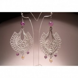 Chandelier silver earrings with pearls and amethyst on LineaErre embroidery