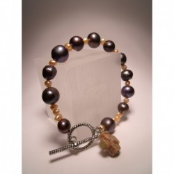"Bracelet ""Rosario"" with freshwater pearls and unakite cross"