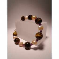 Bracelet with freshwater pearls, tiger eye and amethyst