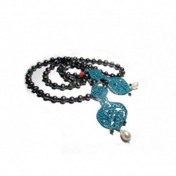 Long necklace with grey freshwater pearls, hematite and embroidery teal, coral and white 1st quality freshwater pearls