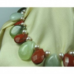 Necklace with pearls, prehnite and jasper