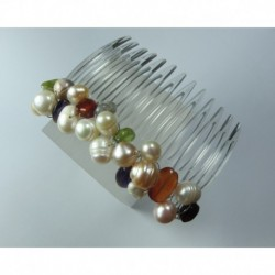 Hair clip with pearls and semi-precious stones