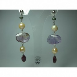 Silver earrings with pearls, ametrine, pink and green tourmaline