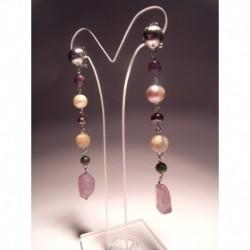 Earrings with pearls, amethyst, jade, moonstone