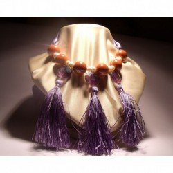 Necklace with ceramic, pearls, tassels and fluorite