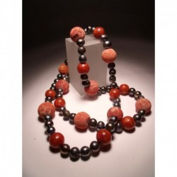 Two strands necklace with grey pearls and madrepora