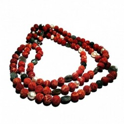 Three strand necklace with madrepora (sponge coral), pearls and labradorite