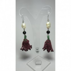 Silver earrings with Turkish tassels, onyx and pearls