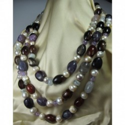 Long necklace with pearls, amethyst, carnelian agate, rock crystal and aquamarine
