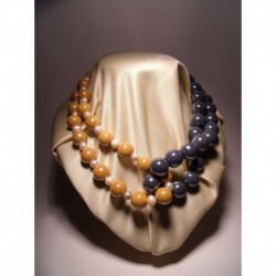 "Necklace ""knot"" in gray and smooth yellow ceramic and freshwater pearls"