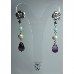 Silver earrings with fluorite, amethyst, Swarovski crystal and pearls