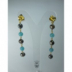 Earrings with pearls and angelite