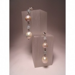 Silver earrings with pearls and aquamarine