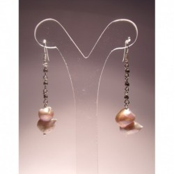 Silver earrings with pearls and pyrite