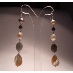 Silver earrings with pearls, mother of pearl, garnet and labradorite