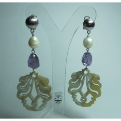 Earrings with carved horn, pearls and amethyst