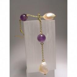 Orecchini con perle di fiume e ametista