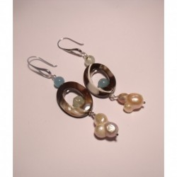Silver earrings with baroque pearls, mother of pearl, angelite and prehnite