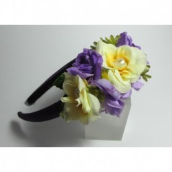 Headband in purple satin with silk flower and freshwater pearls
