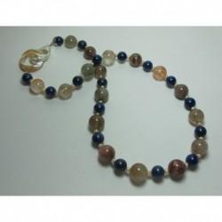Collana con quarzo rutilato, lapislazzuli e micro-perle