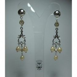 Chandelier earrings with pearls and Swarovski crystals