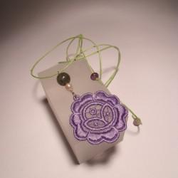 Ciondolo con merletto LineaErre lilla, perla, labradorite e  fluorite
