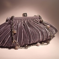 Gray satin clutch with pleated pattern with chain and gray pearls and agate