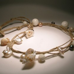 Multi-strand hemp necklace with pearls, shells and madrepora