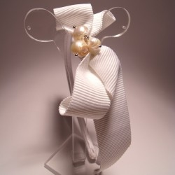 Alice band with white ribbon and pearls
