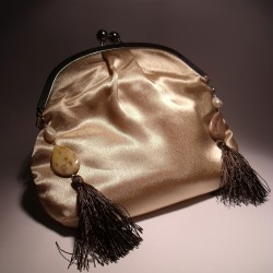 Ivory satin clutch with pearls, jasper and brown tassels