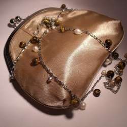 Ivory satin clutch with long chain, pearls and tiger eye