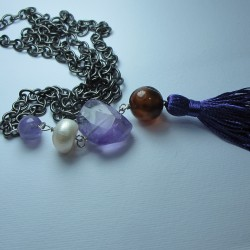 Long necklace with pearl, amethyst, agate, ametrine and tassel