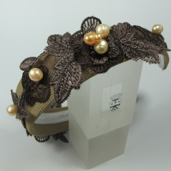 Headband with brown embroidery and pink pearls